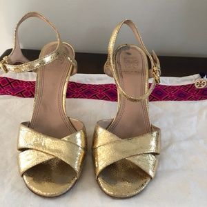 Tory Burch - Gold Ankle Strap Sandals